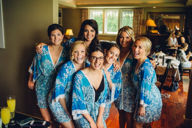 Edgewater House Wedding, Gig Harbor, WA | Bridesmaids in blue getting ready robes | Seattle Wedding Planner, Perfectly Posh Events | Mike Fiechtner Photography