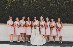 The Foundry by Herban Feast wedding in Seattle | Mid-century modern bridal party, with pink dresses and white shoes | Perfectly Posh Events | Carina Skrobecki Photography