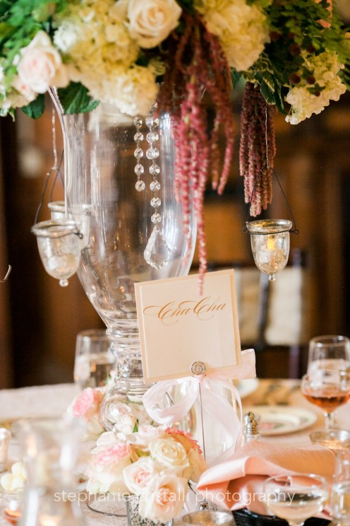 Thornewood Castle Wedding in Seattle | Ballroom dance table names on romantic tablescape | Perfectly Posh Events, Seattle Wedding Planner | Stephanie Cristalli Photography
