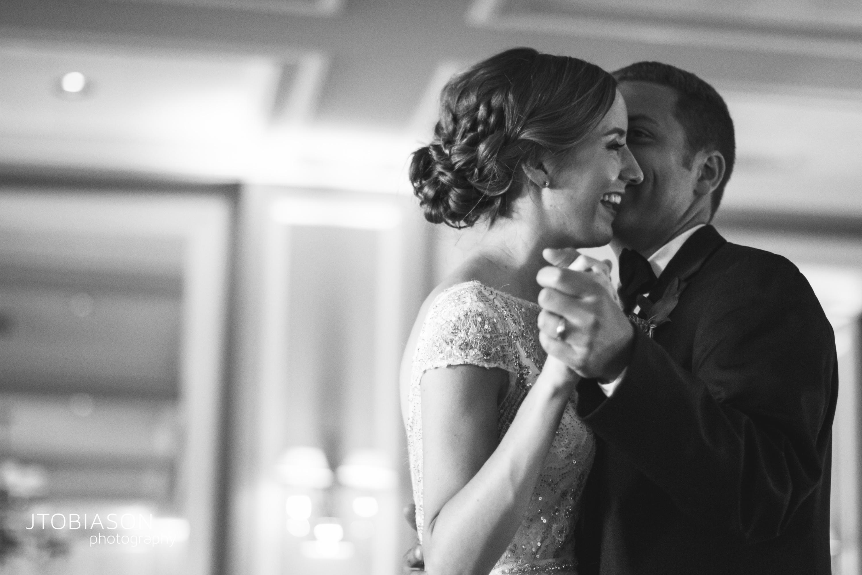 Seattle Tennis Club wedding in Seattle | Bride & groom's first dance, black & white | Perfectly Posh Events, Seattle Wedding Planner | JTobiason Photography