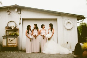 DeLille Cellars wedding in Woodinville |Bride & Bridesmaids in blush and white gowns | Perfectly Posh Events | Seattle Wedding Planner | Andria Lindquist Photography | Butter & Bloom
