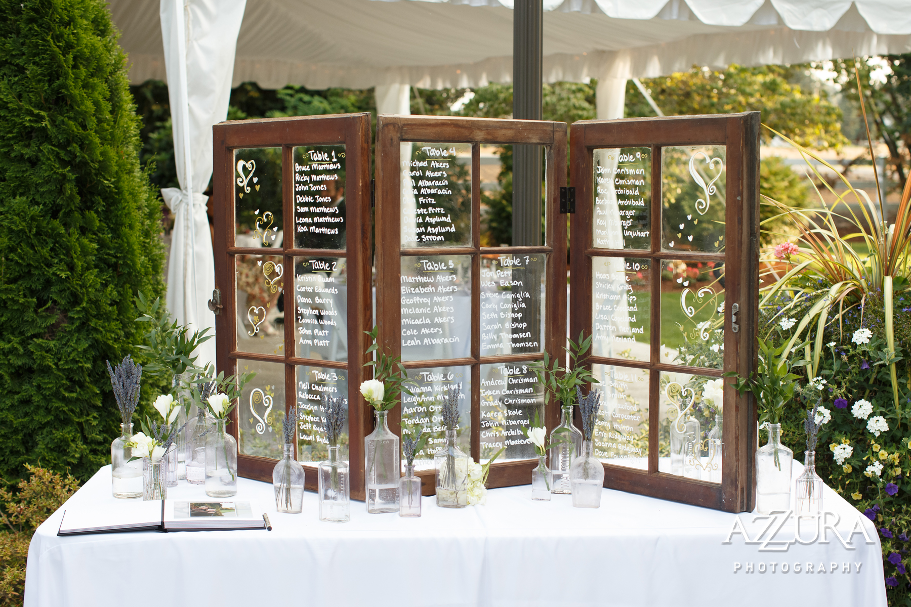 Laurel Creek Manor Wedding in Seattle | Window pane table assignments for wedding | Perfectly Posh Events, Seattle Wedding Planner | Azzura Photography