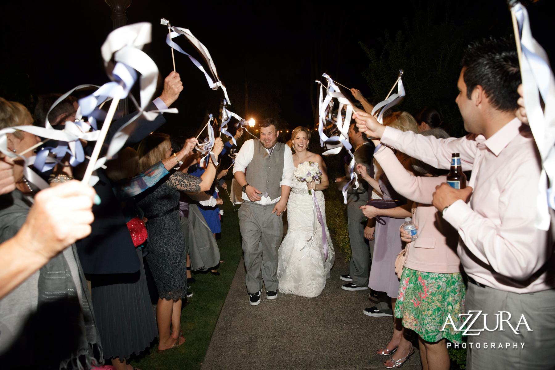 Laurel Creek Manor Wedding in Seattle | Ribbon send-off from wedding reception | Perfectly Posh Events, Seattle Wedding Planner | Azzura Photography