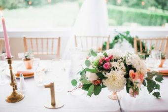 Glen Acres Golf Club   Seattle   Seattle Wedding Planner   Perfectly Posh Events   Barrie Anne Photography   Butter and Bloom   Table setting and centerpieces with pink and white flowers
