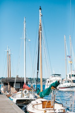 Center for Wooden Boats wedding in Seattle | Harbored sailboats in Seattle marina | Perfectly Posh Events, Seattle Wedding Planning | Kathryn Moran Photography