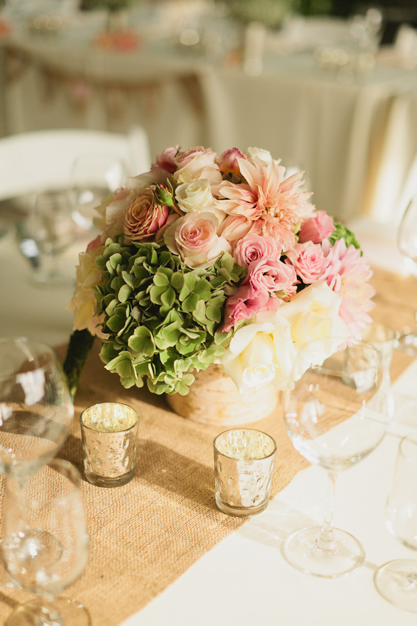 DeLille Cellars wedding in Woodinville | Birch wrapped floral vases with roses, dahlias, and hydrangeas | Perfectly Posh Events | Lucid Captures Photography | Bella Signature Design