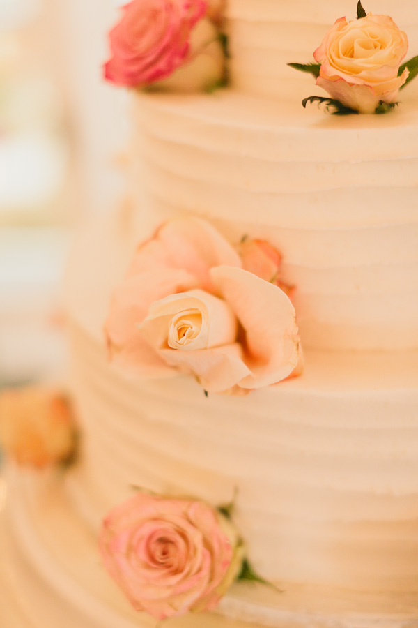 DeLille Cellars wedding in Woodinville | Three-tiered white buttercream cake with roses | Perfectly Posh Events | Lucid Captures Photography | Morfey's Cakes