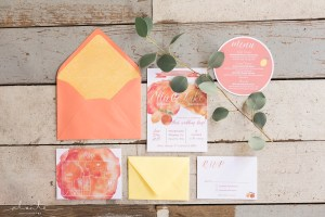 Seattle Wedding Show, Weddings in Woodinville | Citrus Countryside Invitation Suite, orange, yellow, pink, green | Perfectly Posh Events | Alante Photography