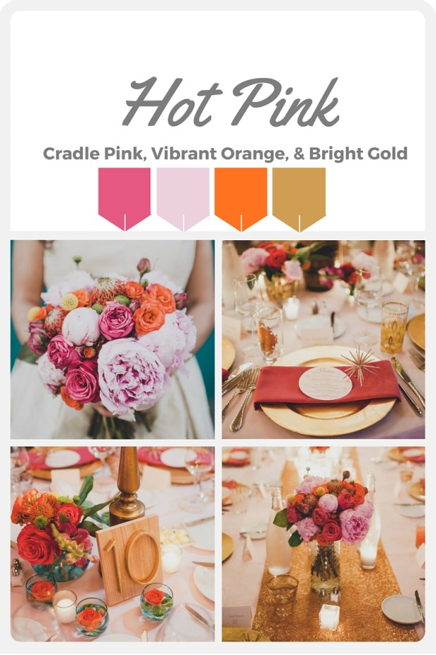 Pink Wedding Color Swatches from Pantone | Real wedding with Pantone color, Hot Pink | Designed + Coordinated by Perfectly Posh Events | Carina Skrobecki Photography | Floral Design by Butter & Bloom