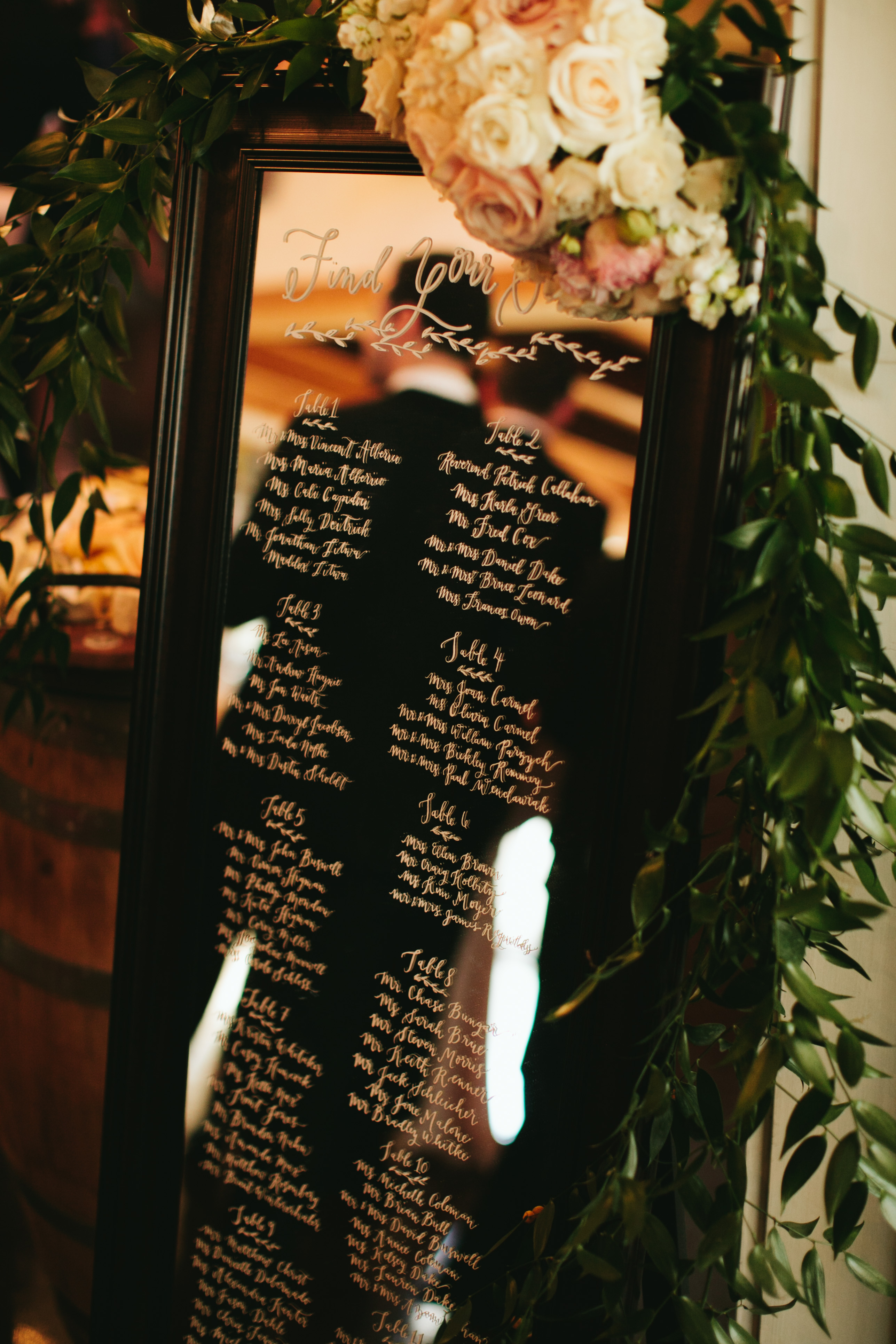 DeLille Cellars Wedding in Woodinville, WA | Calligraphy mirror for wedding reception seating chart | Perfectly Posh Events | Lucid Captures Photography | La Happy Design + Calligraphy