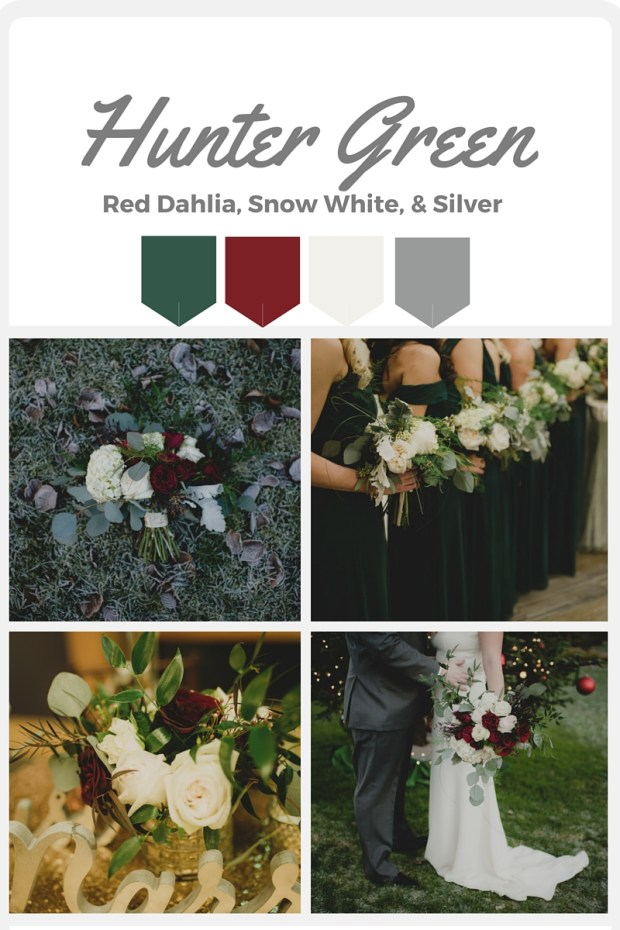 Green Wedding Color Swatches from Pantone | Real wedding with Pantone color, Hunter Green | Coordinated by Perfectly Posh Events | Carly Bish Photography | Floral Design by Butter & Bloom