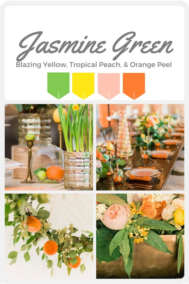 Green Wedding Color Swatches from Pantone   Real wedding with Pantone color, Jasmine Green   Coordinated by Perfectly Posh Events   Alante Photography   Floral Design by