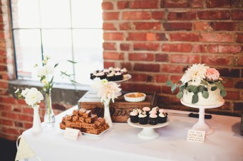 Wedding cake and mini dessert display | Golden Gardens Bathouse Wedding | Perfectly Posh Events, Seattle Wedding Planner | Andria Linquist Photography | Holly + Dustin Wedding // © Andria Lindquist 2014