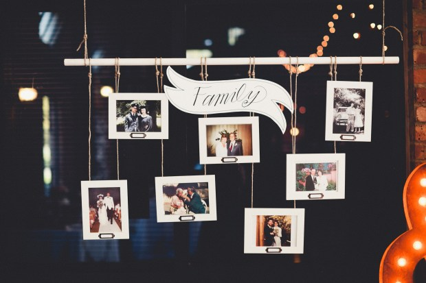 DIY suspended family photo tree for wedding reception | Golden Gardens Bathouse Wedding | Perfectly Posh Events, Seattle Wedding Planner | Andria Linquist Photography | Holly + Dustin Wedding // © Andria Lindquist 2014