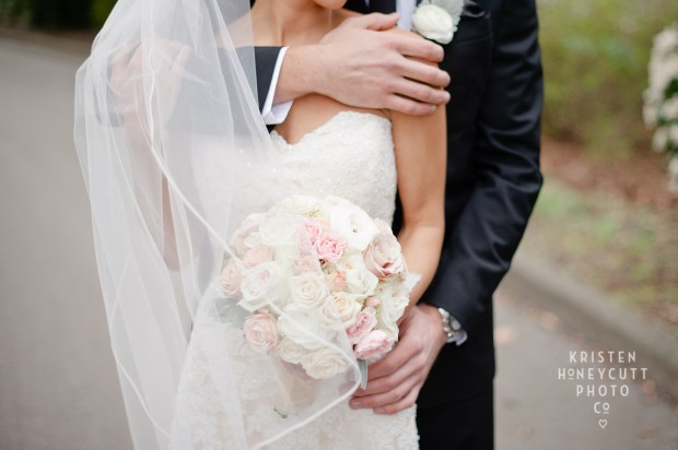 Melrose Market Studios Wedding in Seattle, WA | Groom wedding portrait | Stunning wedding portrait of bride and groom with veil and bouquet | Wedding Planning by Perfectly Posh Events, Seattle Wedding Planner | Kristen Honeycutt Photography | Floral Design by Contemporary Floral