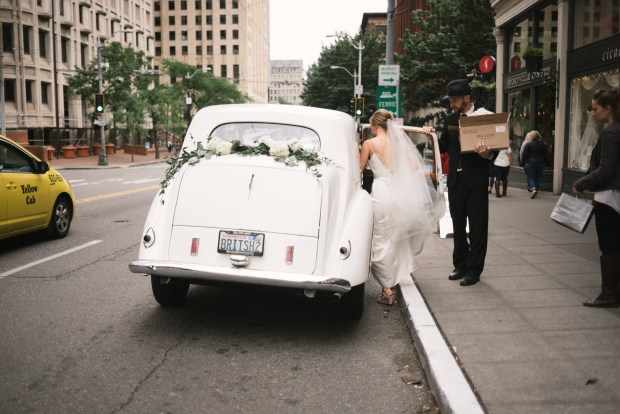 Axis Pioneer Square Wedding in Seattle | Vintage Rolls Royce rental cars for wedding in Seattle | Perfectly Posh Events, Seattle Wedding Planner | Roland Hale Photography | British Motor Coach; Vintage Car Rental, Seattle