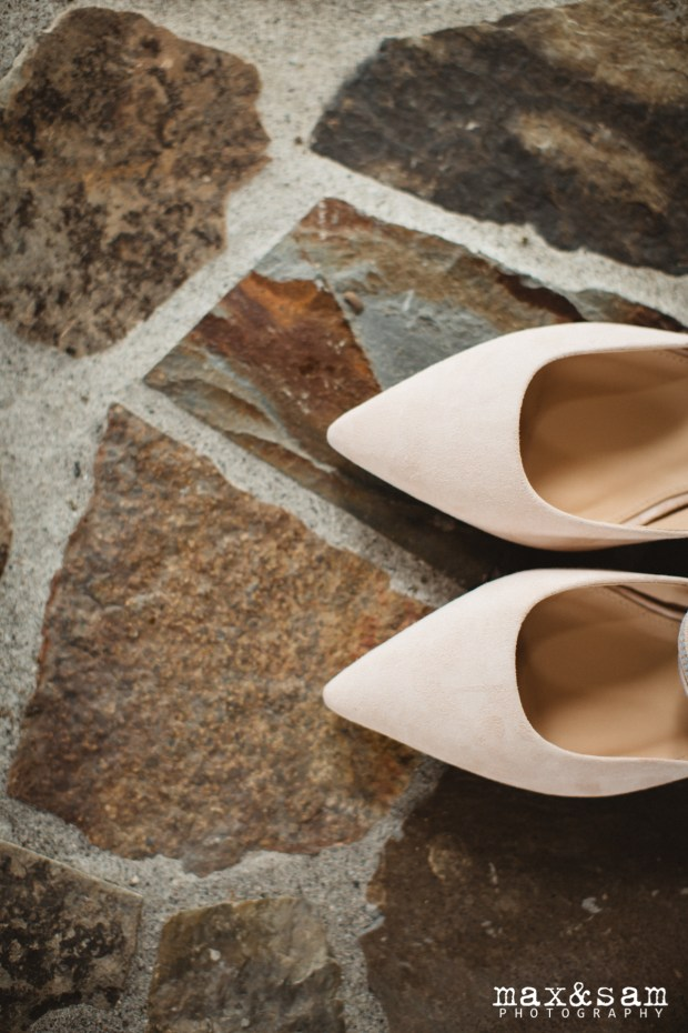 The Lodge at Fall City Wedding in Seattle, WA | Pale pink flats for wedding shoes | Perfectly Posh Events, Seattle Wedding Planner | Max & Sam Photography