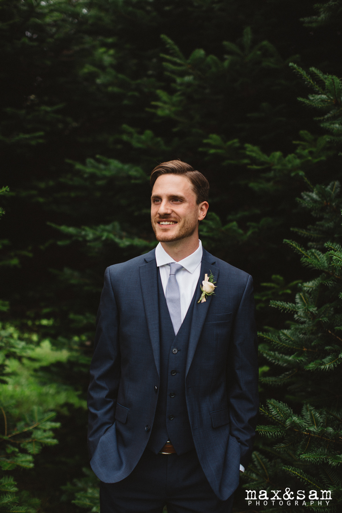 The Lodge at Fall City Wedding in Seattle, WA | PNW backdrop for groom portrait | Perfectly Posh Events, Seattle Wedding Planner | Max & Sam Photography