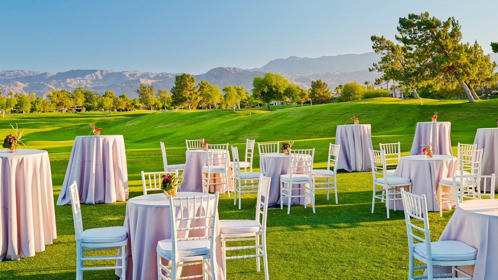 The Westin Misson Hills Golf Resort and Spa, Palm Springs wedding | cocktail tables on golf course | Perfectly Posh Events, Seattle and Portland Wedding Planner