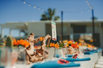 The Monkey Tree Hotel, Palm Springs wedding | reception table set up | Perfectly Posh Events, Seattle and Portland Wedding Planner