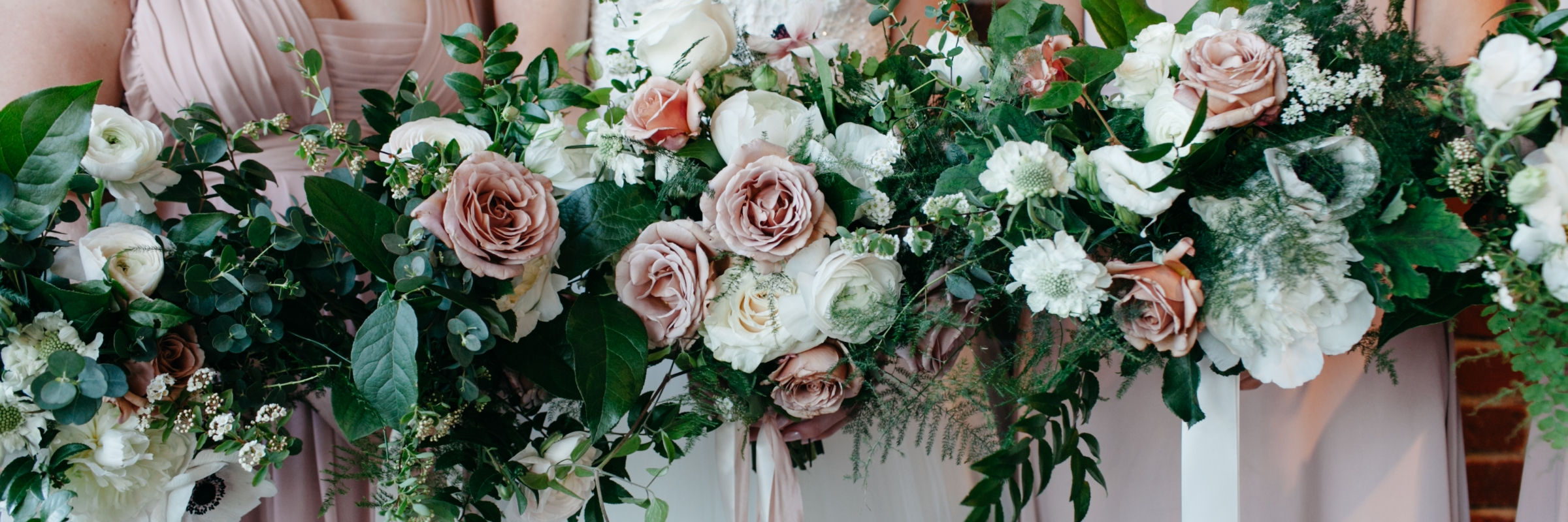 Blush and white bridal bouquets | Photo by Kate Price Photography | Wedding Planning by Perfectly Posh Events, Portland and Seattle wedding planners