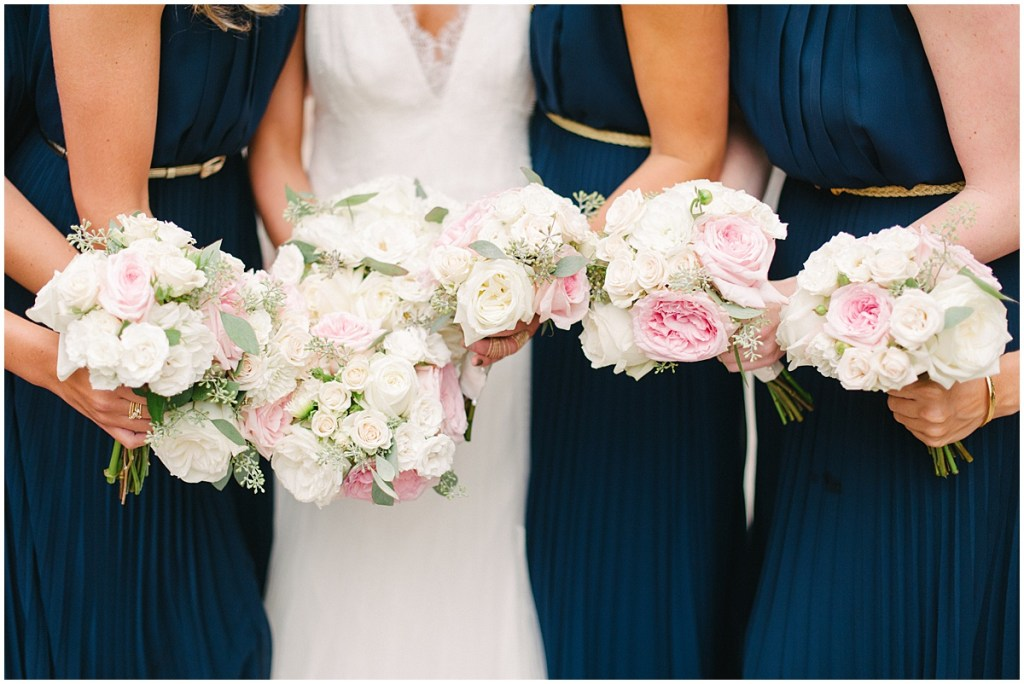 Navy bridesmaid dresses with white and pink flowers, Private Estate Wedding in Woodinville, Wedding Planning and Design by Perfectly Posh Events: Seattle and Portland Wedding Planner, Photo by Blue Rose Photography
