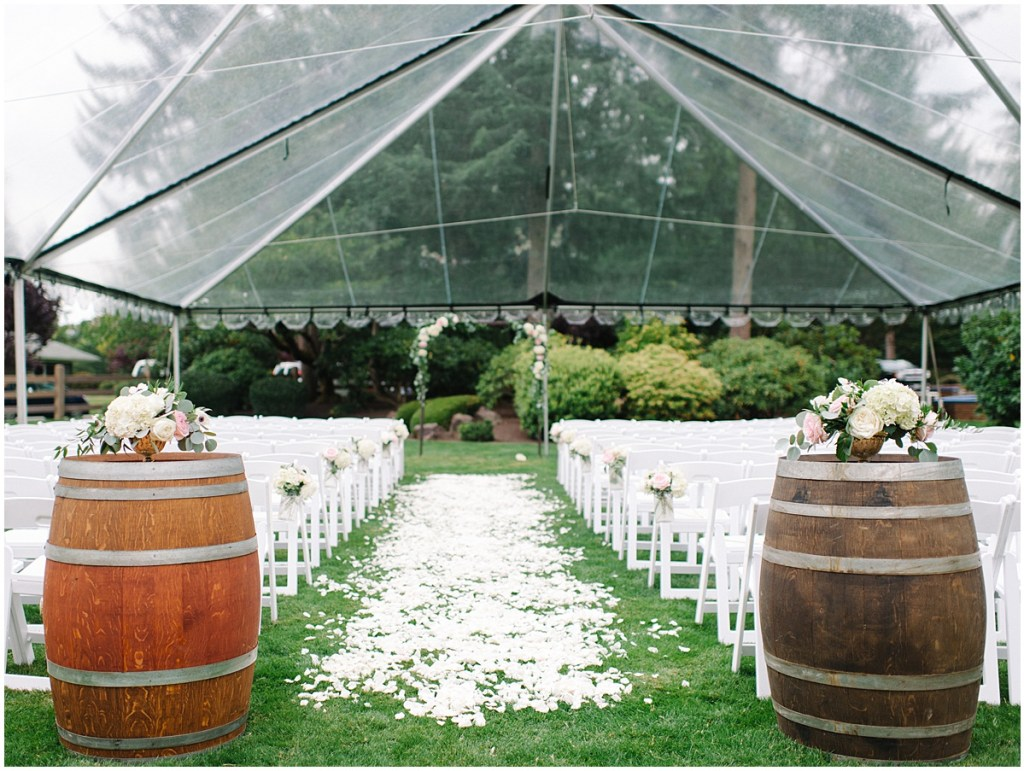 Clear tent wedding ceremony in Woodinville, wedding Planning and Design by Perfectly Posh Events, wedding flowers by Sugar Pine | Private Estate Wedding in Woodinville | Perfectly Posh Events: Seattle and Portland Wedding Planner | Photo by Blue Rose Photography