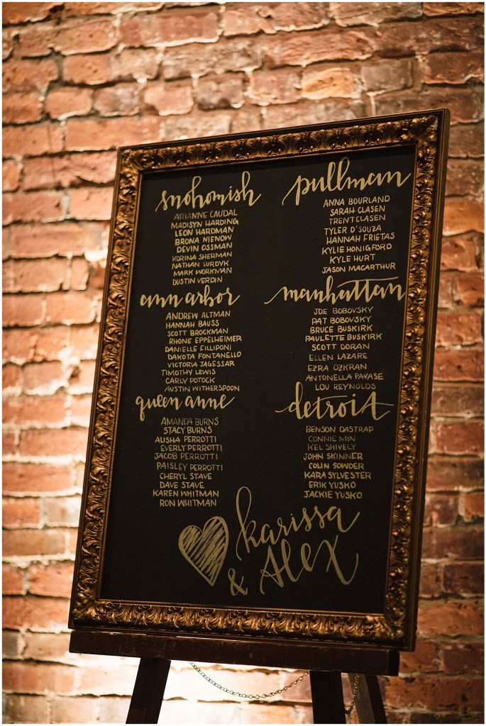 Wedding guest table seating assignments hand drawn on chalkboard in gold frame, Axis Pioneer Square wedding, Seattle wedding, Perfectly Posh Events, Seattle Wedding Planner, Photo by Roland Hale