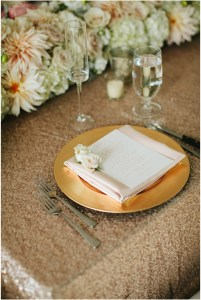 Wedding reception place setting featuring blush and ivory florals atop a gold sequin tablecloth, Woodinville wedding at DeLille Cellars, Seattle wedding, Perfectly Posh Events wedding planning and design, Seattle and Portland Wedding Planner, Photo by Lucid Captures Photography