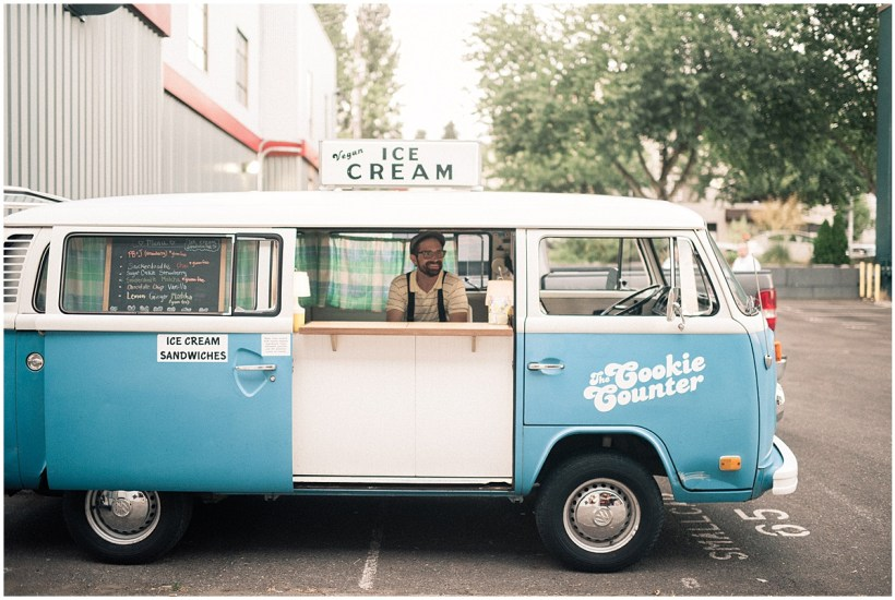 The Cookie Counter mobile ice cream sandwich van, blue vintage Volkswagen van, Fremont Foundry wedding in Seattle, Wedding Planning and Design by Perfectly Posh Events, Seattle and Portland Wedding Planner, Photo by Alexandra Grace Photography