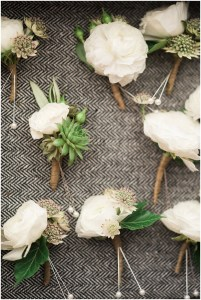 White flower and succulent boutonnieres, Fremont Foundry wedding in Seattle, Wedding Planning and Design by Perfectly Posh Events, Seattle and Portland Wedding Planner, Photo by Alexandra Grace Photography