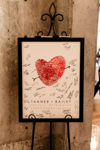 Custom art print featuring thumbprints that form a heart on display for wedding guests to sign, Fremont Foundry wedding, Seattle wedding, wedding planning and design by Perfectly Posh Events, Seattle Wedding Planner, Photo by Brittney Hyatt