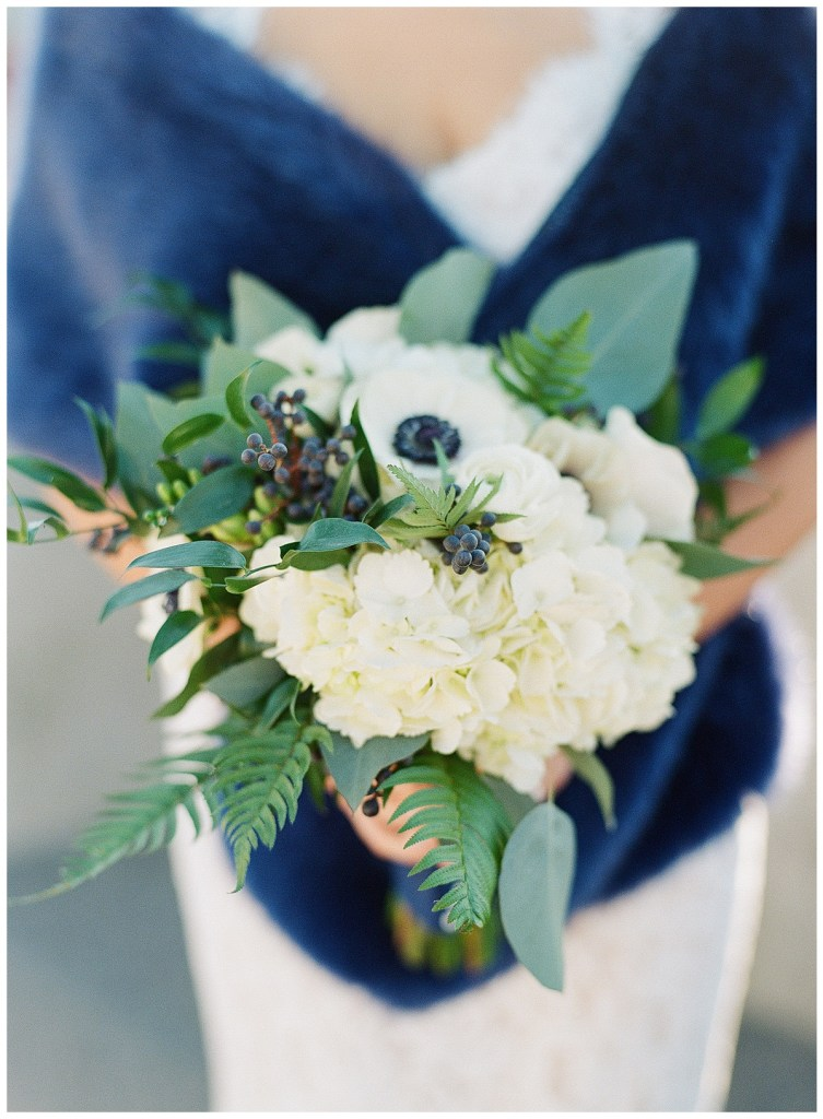 Metropolist Wedding in Seattle, WA | Navy and white bridal bouquet with navy fur shawl | Seattle Wedding Planner, Perfectly Posh Events | Katie Parra Photography | Floral Design by Sublime Stems