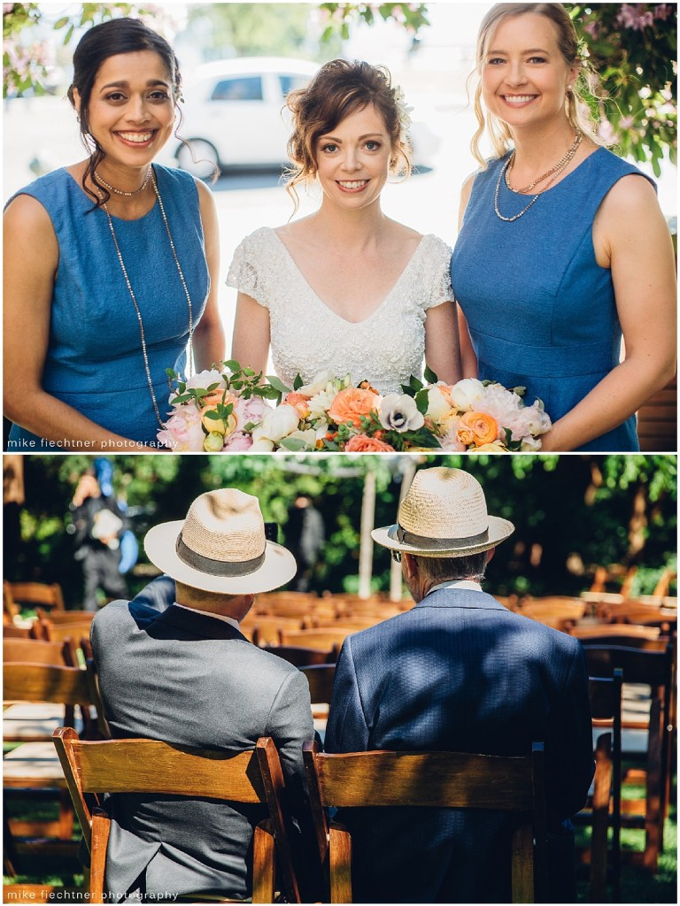 Bride poses with bridesmaids in blue gowns and two wedding guests in hats wait for ceremony to commence, Olympic Rooftop wedding, Seattle wedding, wedding planning by Perfectly Posh Events, Seattle and Portland Wedding Planner, Photo by Mike Fiechtner Photography