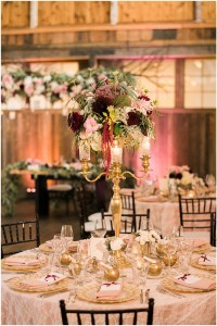 Wedding dinner table with white, burgundy and gold floral centerpiece and lace and gold detailing, Seattle wedding at Sodo Park, Perfectly Posh Events wedding planning and design, Seattle and Portland Wedding Planner, Photo by Kimberly Kay Photography