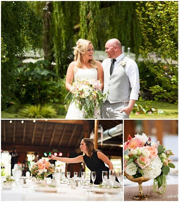 Gnome wedding in a PNW garden setting with light pink, peach, white and green colors | Design and Wedding Coordination by Portland Wedding Planner Bridget | Photos by Barbie Hull Photography | Blooms by Floressence