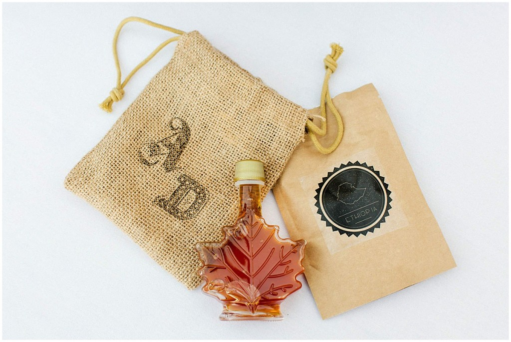 Custom wedding guest gifts with Canadian maple syrup and Ethiopian coffee, Admiral