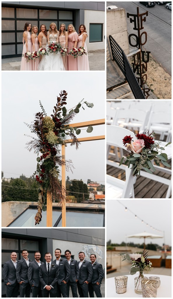 Industrial and modern wedding design on a rooftop venue with bridesmaids and groomsmen.