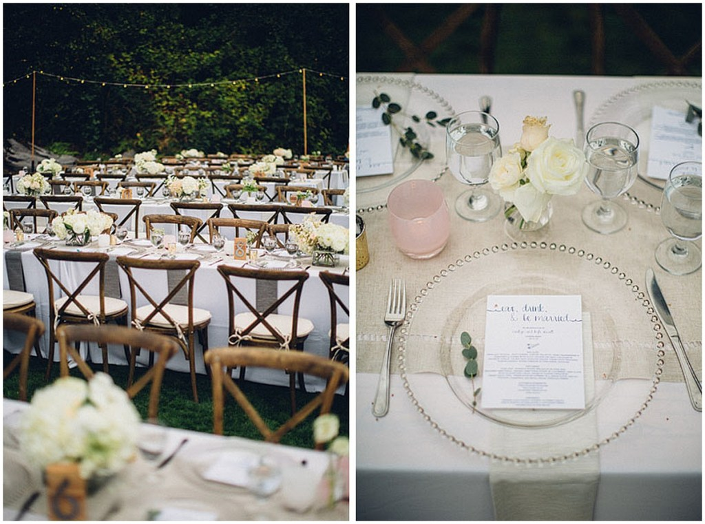 Long wedding reception dinner tables set up outdoors with white table cloths, ivory and blush florals, and pink Glassybaby candle jars, Washington wedding, Perfectly Posh Events wedding planning, Washington wedding planner, Photo by Mike Fiechtner Photography