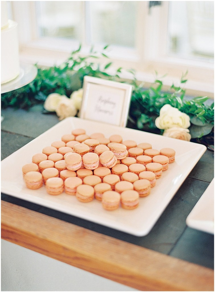 Dessert tray with raspberry flavored macarons, DeLille Cellars wedding, Woodinville wedding, Perfectly Posh Events wedding coordination, Photo by Great Romance Photography