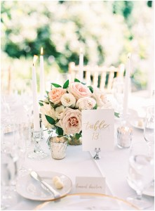 Wedding reception dinner table with a blush and ivory floral centerpiece, mercury candle holders, and a hand painted table number, DeLille Cellars wedding, Woodinville wedding, Perfectly Posh Events wedding coordination, Photo by Great Romance Photography