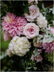 Close up of ivory hydrangeas, blush roses, and pink dahlias, DeLille Cellars wedding, Washington wedding planner, Perfectly Posh Events, Photo by Shane Macomber Photography