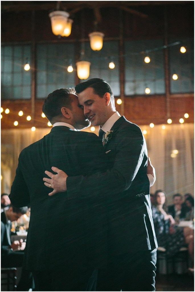 Grooms share their first dance as a married couple, same sex wedding, Sodo Park wedding, Seattle wedding coordinator, Perfectly Posh Events, Photo by Melissa Kilner Photography