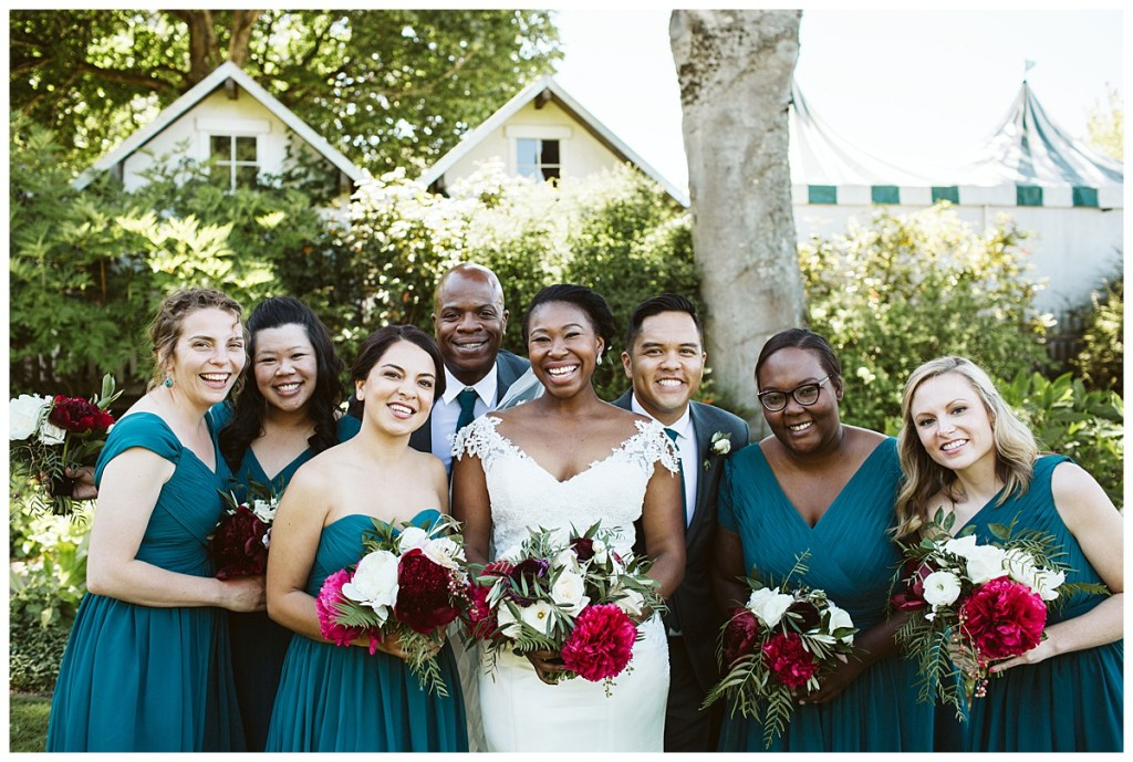 Teal bridesmaids dresses with moody bouquets | Blooms by Bloom San Juan | San Juan Island Wedding Planner, Perfectly Posh Events | Sara Parsons Photography.