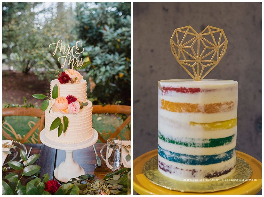 Colorful, round wedding cakes with cake toppers by BAKED. Custom Cakes in Seattle, WA. For more inspiration on creative cakes, visit BAKED. Custom Cakes. Wedding photography by Courtney Bowlden and Rebecca Ellison.  #perfectlyposhevents