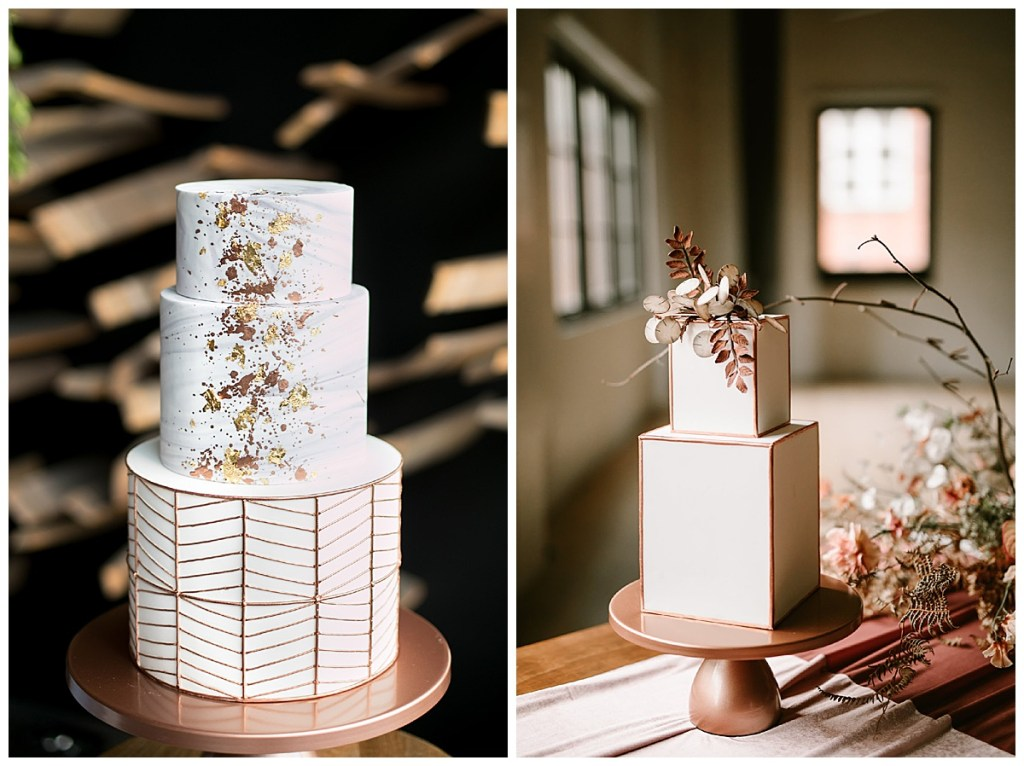 Geometric, modern tiered wedding cakes with neutral and metallic color palettes crafted by BAKED. Custom Cakes in Seattle, WA. Click for more wedding cake inspiration from BAKED. Custom Cakes. Wedding photography by Angela & Evan Photography. #perfectlyposhevents