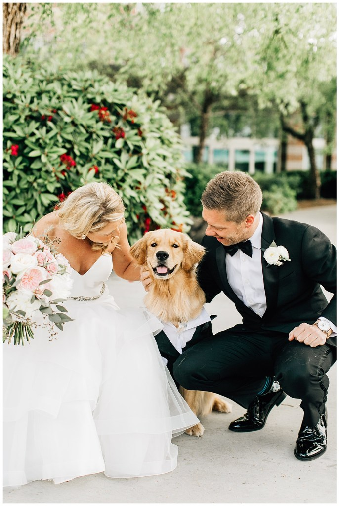 Golden Retriever ring bearer dressed in a black dog tux for wedding photos with parents who are getting married! Click for more fur-baby wedding inspiration from this waterfront wedding in Kirkland at the Woodmark Hotel wedding venue. Event planning by Perfectly Posh Events, based in Seattle and Portland. Wedding photography by Jenna Bechtholt Photography. Wedding flowers by Flora Nova Design. #perfectlyposhevents