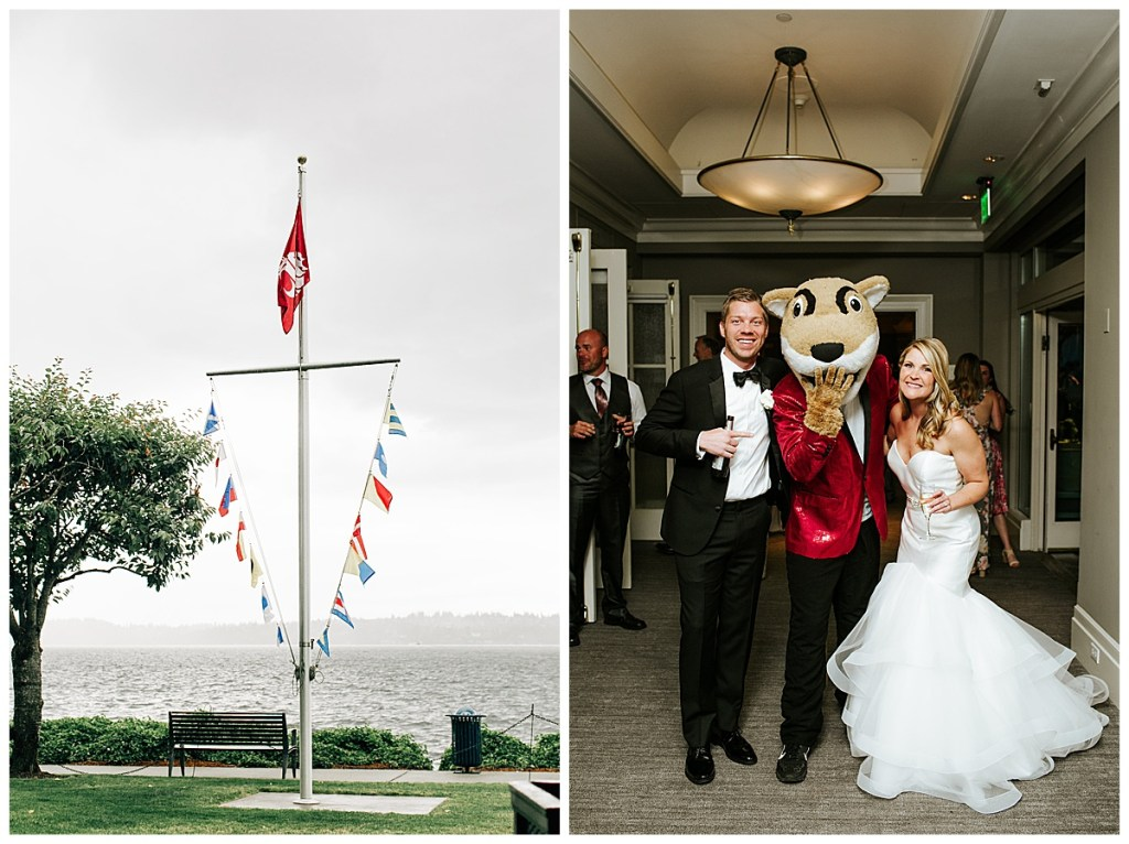 Incorporate your alma mater into your wedding celebrations by hoisting a college flag or bringing in your college mascot! Go Cougs! Click for more festive wedding inspiration from this waterfront wedding in Seattle at the Woodmark Hotel wedding venue.  Event planning by Perfectly Posh Events, based in Seattle and Portland.  Wedding photography by Jenna Bechtholt Photography. #perfectlyposhevents