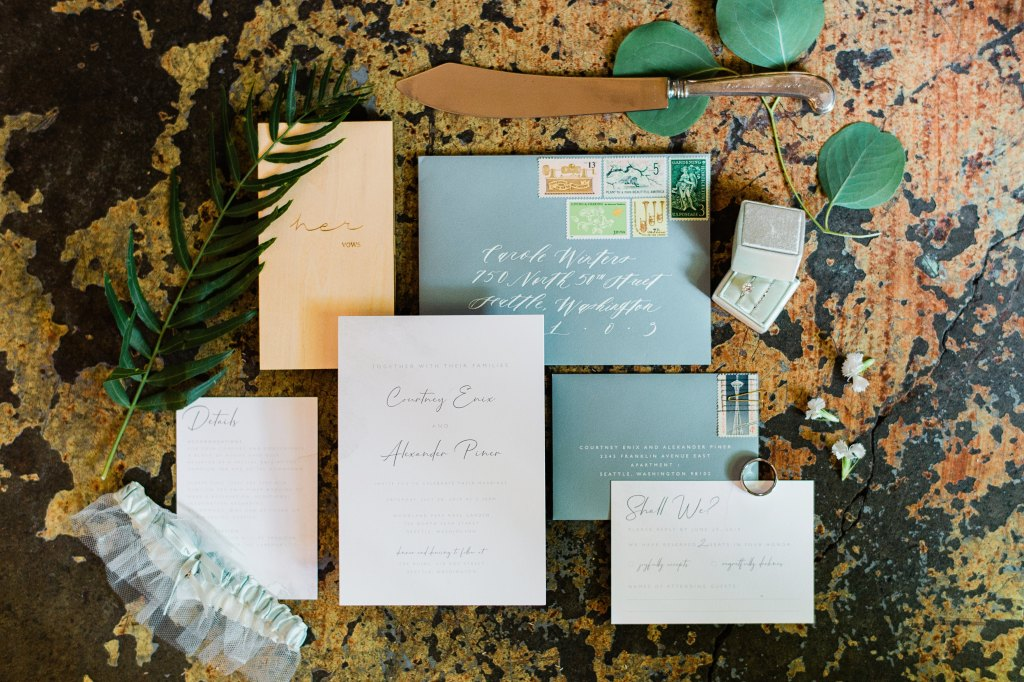 Pantone Color of the Year, Classic Blue, for 2020 is seen here in this wedding invitation suite.