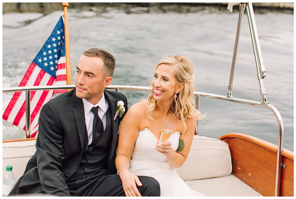 Elena + Travis spent a few moments aboard a boat with bubbly immediately following their wedding ceremony.
